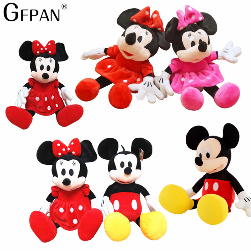 2pcs/lot 30cm Super Cute Mickey & Minnie Mouse Stuffed Soft Stuffed&Plush Toy High Quality Gifts Classic Hot Doll For Girls Baby
