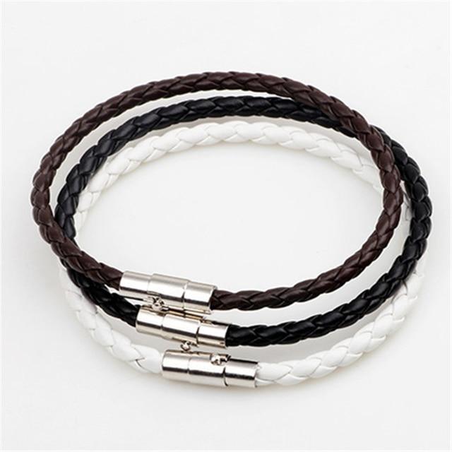 Handmade Boho Hippie Black White Dark Brown Macrame Leather Silver Color Easy Magnet Lock Closure Stackable Bracelets for Man