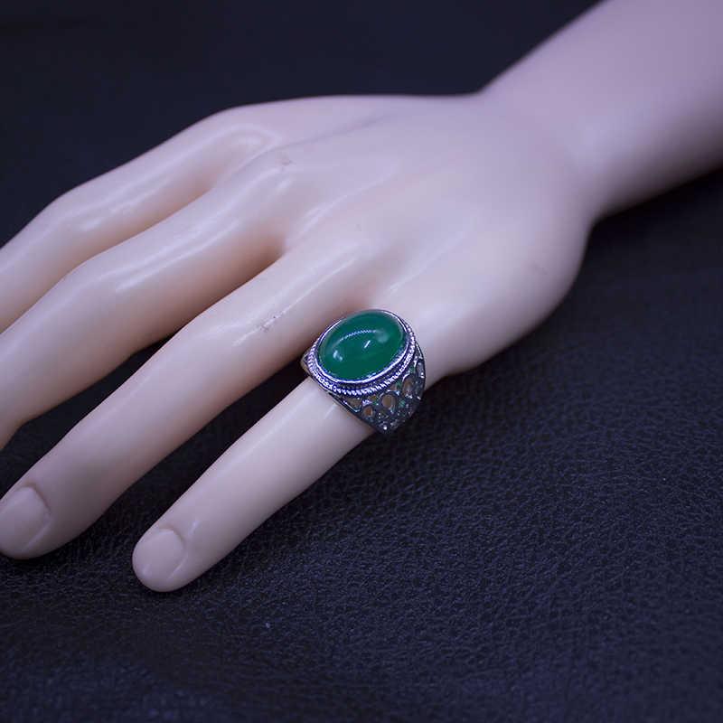 EKUSTYEE ใหม่ล่าสุดออกแบบหินสีเขียวแหวนผู้หญิง Hollow Out โลหะเงินชุบแหวนแฟชั่นเครื่องประดับราคาถูก