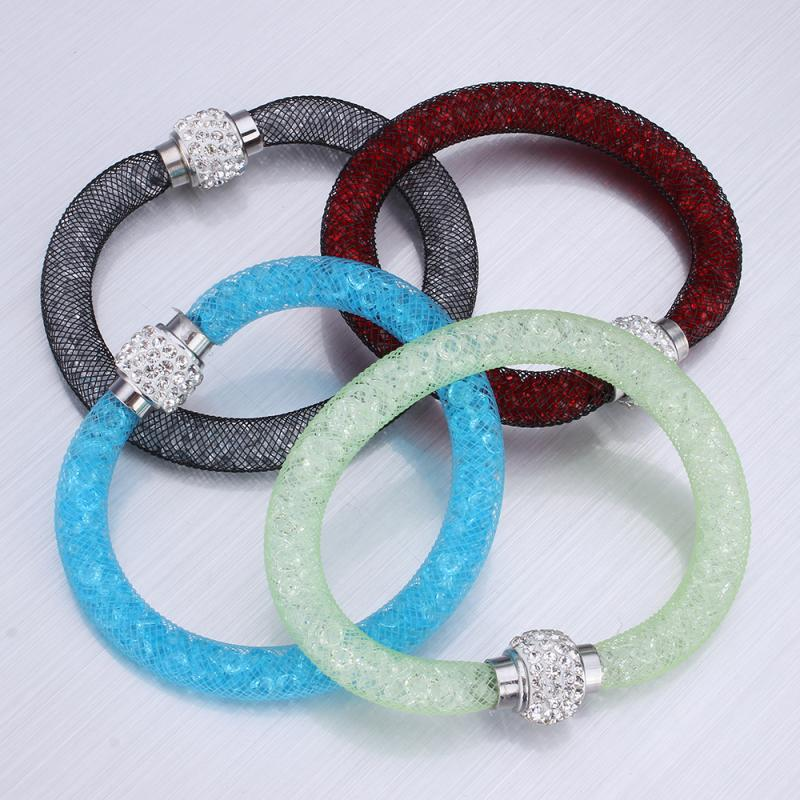 18 Colors Bracelets Rainbow Gift High Quality Crystal with Net Chain Mesh Tube Magnetic Bracelets Bijoux Jewelry Women bracelets
