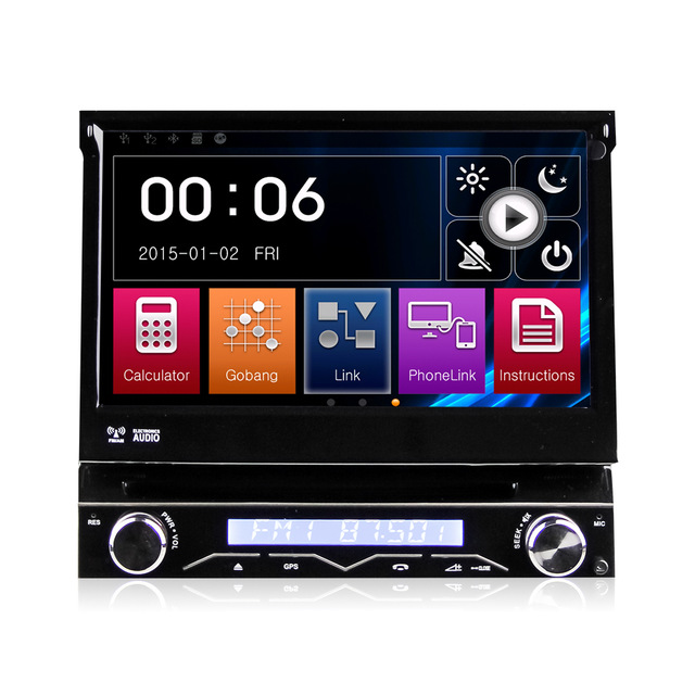 Universal 1 Din 7 Detachable Car Audio DVD Player GPS Navigation Stereo Car Central Multimedia Radio Bluetooth DVR WCDMA USB image