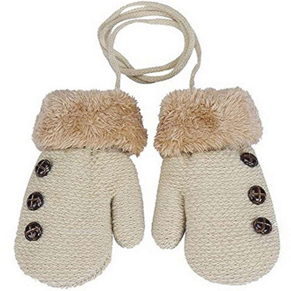 Toddler Kids Baby Girls Boys Thick Xmas Winter Warm Finger Gloves Rope Mittens
