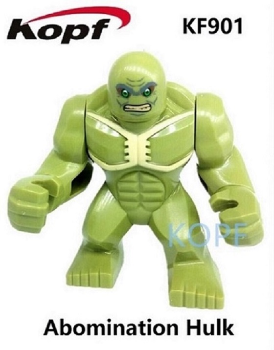Single Sale Super Heroes 7CM Big Size Abomination Hulk Toxin Colossus Kingpin Bricks Building Blocks Children Gift Toys KF901 building blocks super heroes back to the future doc brown and marty mcfly with skateboard wolverine toys for children gift kf197