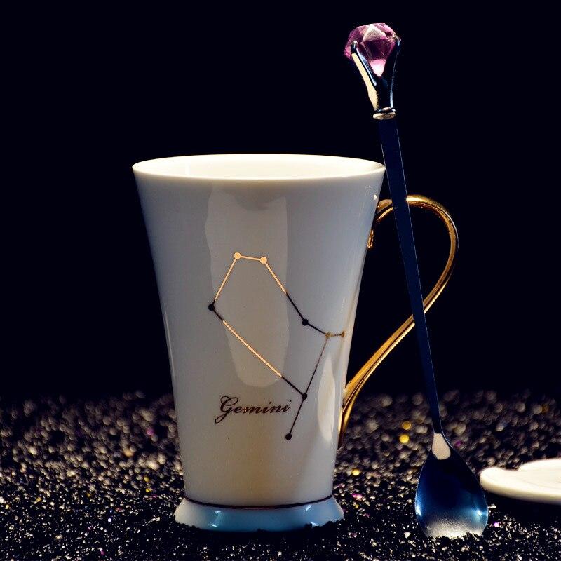 New Constellation Bone-china Mug Coffee cup with Diamonds Coffee spoon personality Creative gift