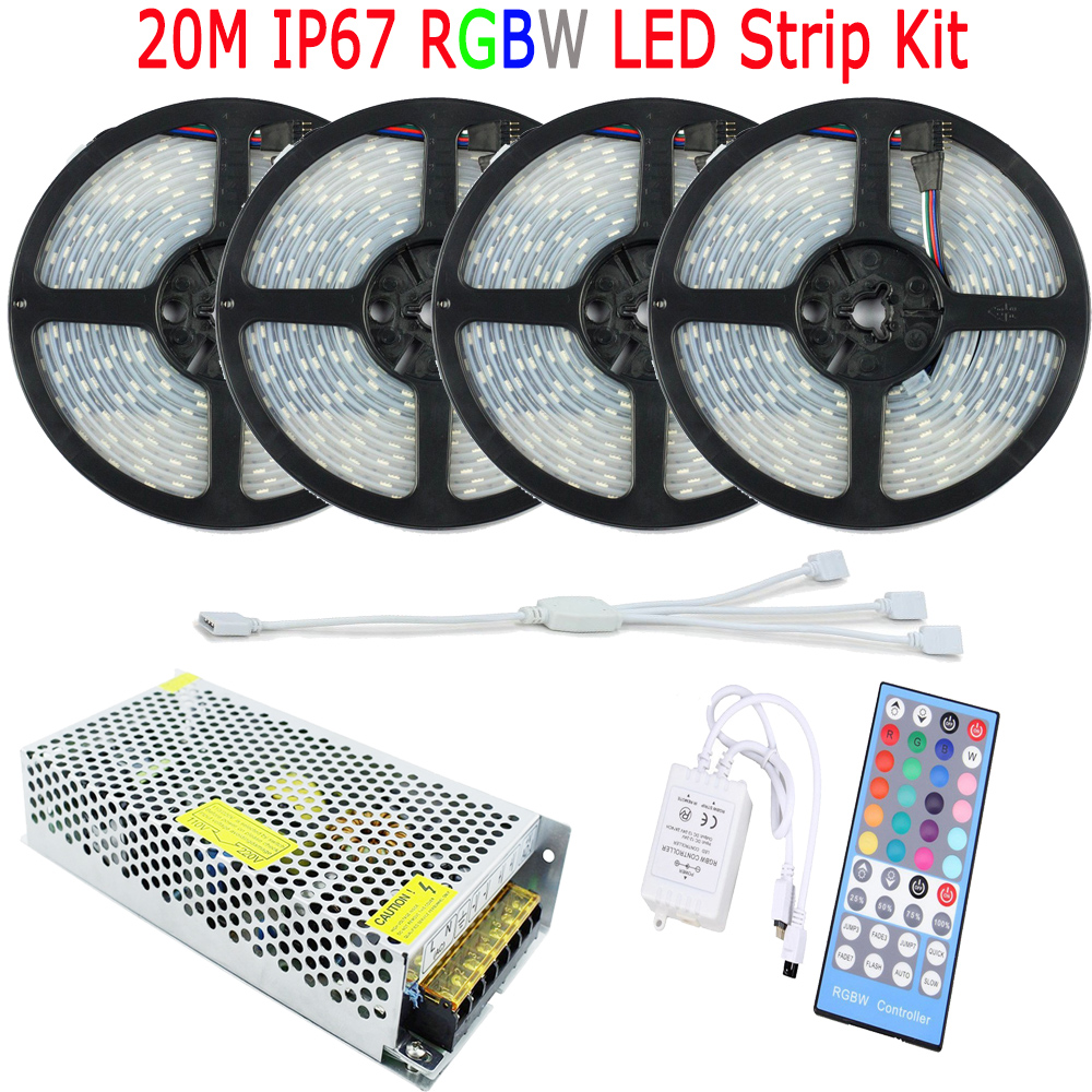20m 15m 10m rgbw rgbww led strip 5050 ip67 waterproof flexible led diode tape fita de tiras. Black Bedroom Furniture Sets. Home Design Ideas