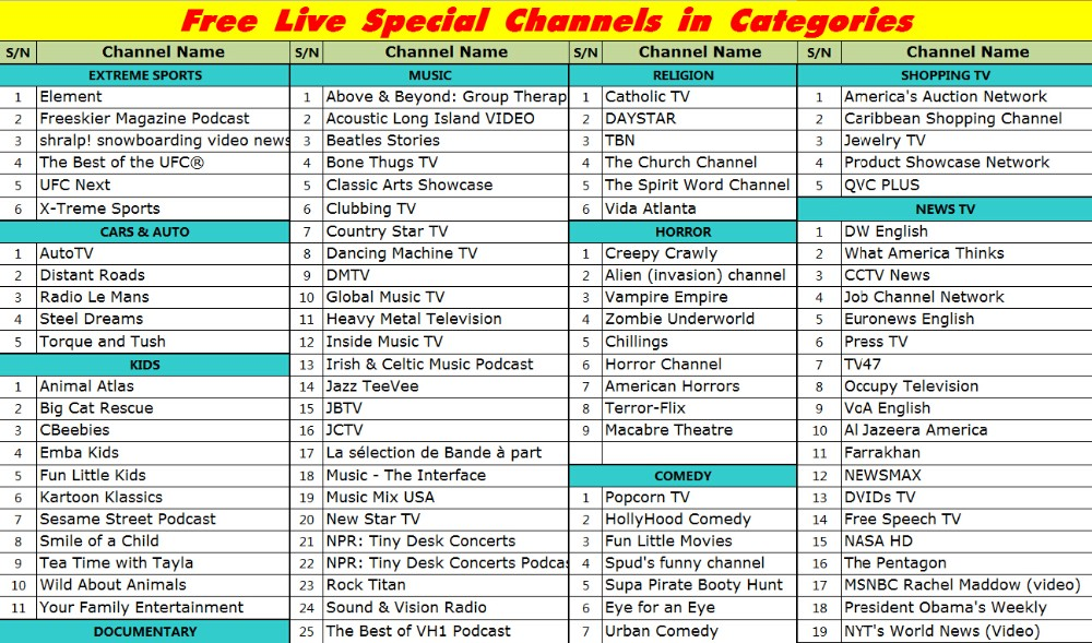 Free LIVE TV Channels 11