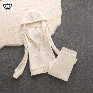 Image 4 - 2020 da marca das mulheres de veludo tecido agasalho calças ternos veludo terno mulher treino 2 peças hoodies e calças azul