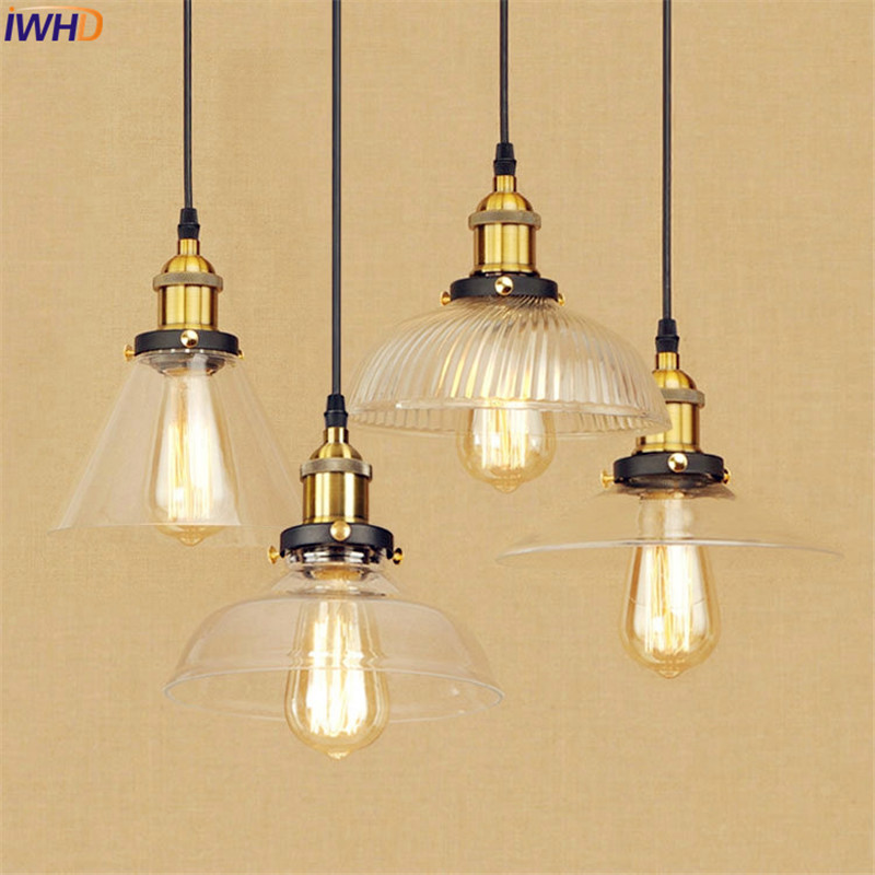 Glass Vintage LED Pendant Light Fixtures Metal Dinning Room Loft Industrial Lighting Fixyutes Hanging Lights Edison Style edison inustrial loft vintage amber glass basin pendant lights lamp for cafe bar hall bedroom club dining room droplight decor