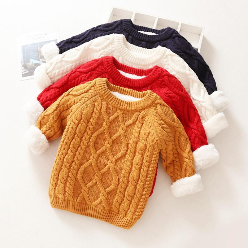 UnermüDlich Kinder Pullover Jungen Mädchen Für Winter Oansatz Warm Verdicken Pullover Kinder Mädchen Junge Fleece Gefüttert Strickjacke Pullover Tops Jungen Kleidung