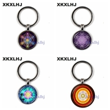 XKXLHJ Metatron Cube Pendant Keychain Sacred Geometry Life Flower Chakra Ladies Magic Six-Star