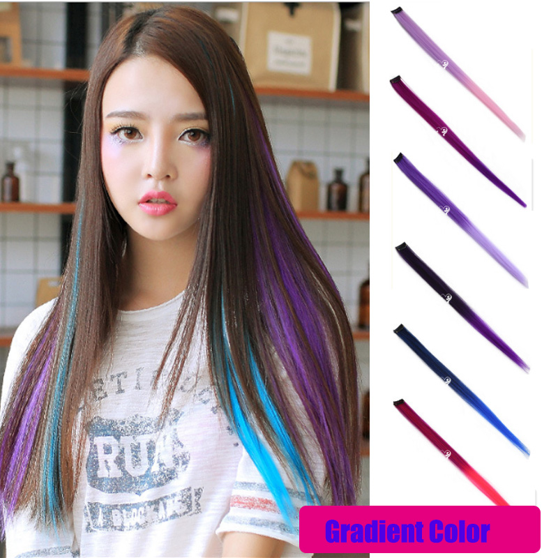 Super Quality 55cm Long Straight Clip In Hair Extensions In Gradient