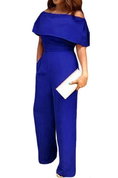 2017 Elegant overalls women Summer Playsuit work wear Long Pants Blue Cape Off Shoulder Pocket Wide Leg Jumpsuit long LC64238