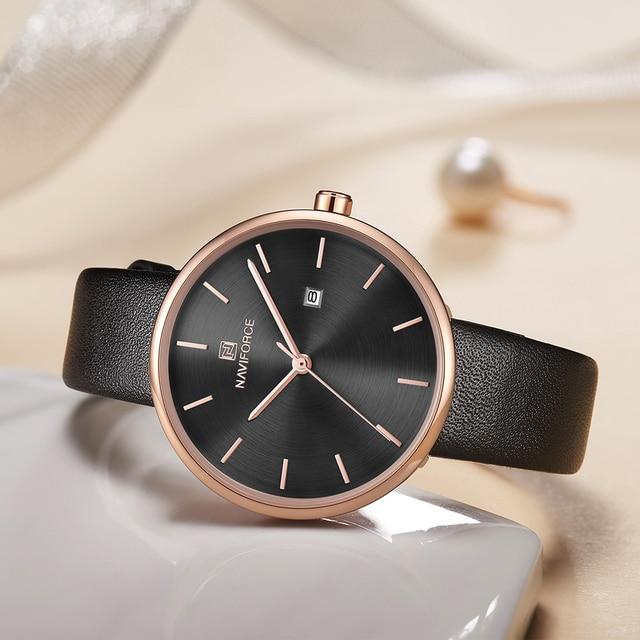 NAVIFORCE Women Fashion Blue Quartz Watch Lady Leather Watchband High Quality Casual Waterproof Wristwatch Gift for Wife 5002