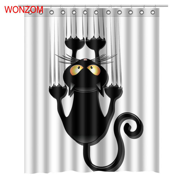 WONZOM Modern Cat Dog Bath Waterproof Curtain 3D Polyester Fabric Shower With 12 Hooks For