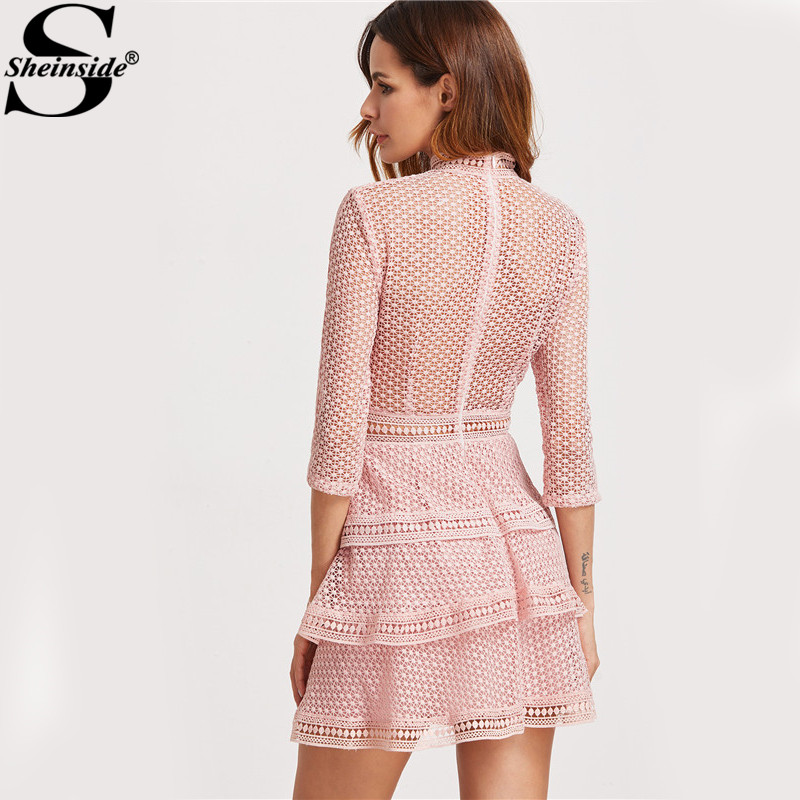 Sheinside Pink Lace Dress Vintage Crochet Party Dress Women High