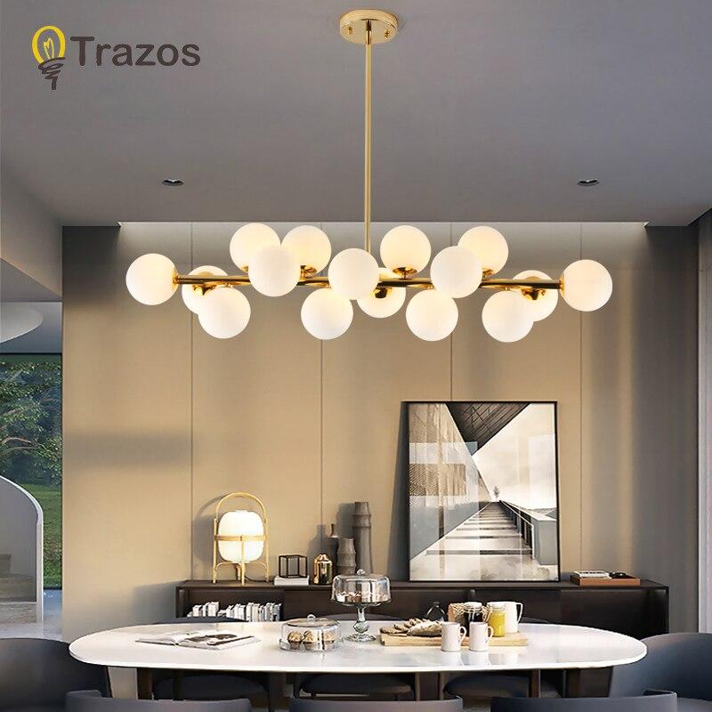 Fagiolo magico Moderno Lampadario A Sospensione A LED Luci Per Soggiorno Sala Da Pranzo G4 Oro/Nero Bianco Lampada Lampadario In Vetro apparecchi di