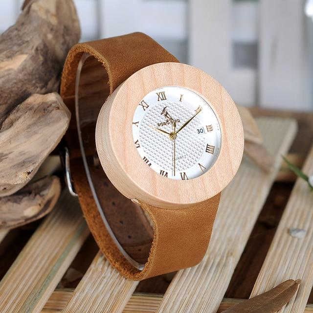 Reloj de madera pino vintage pulso cuero 2