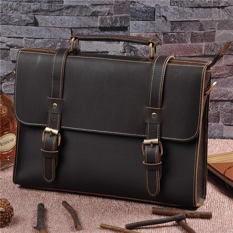 Handle Suitcase Briefcase Men Portfolio Vintage Genuine Leather Business Handbag Mans Anti Theft