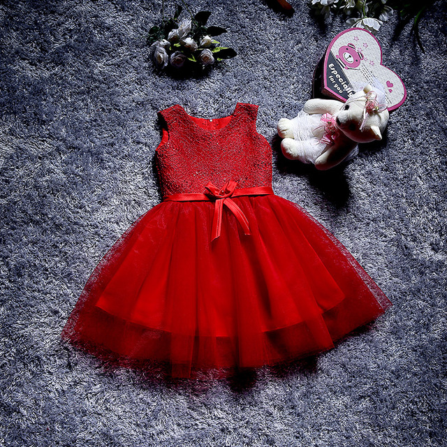 7e545389214a Noble baptism Red Lace Big Bow Baby Girl Christening Gown