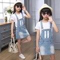 Conjuntos de Roupas Para crianças Roupas Meninas Dos Desenhos Animados T-Shirts de Algodão Marca Denim vestidos Para Meninas T & Macacões 2 Pcs 6 8 10 Anos