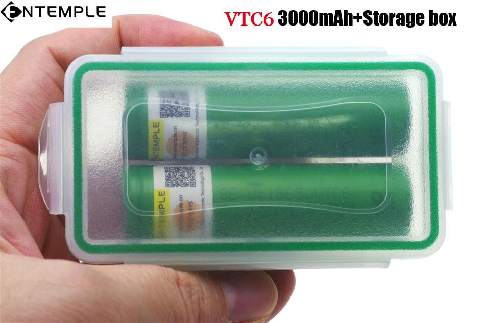 1 PCS ENTEMPLE VTC6 3.7 V 3000 mAh 18650 Li-ion Batterie 30A Décharge pour Sony US18650VTC6 E-cigarette batteries + De Stockage boîte