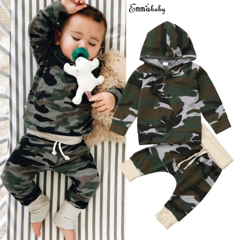 Toddler Pretty Newborn Infant Kid Baby Boy Girl Camouflage Clothes Hooded Sweatshirt Long Sleeve T-shirt Top Pants Outfit 2Pcs