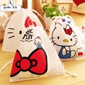 2016 Hello Kitty  Eco Reusable Shopping Bags Cloth Fabric Grocery Packing Recyclable Bag Simple Design Healthy bags 20*18cm