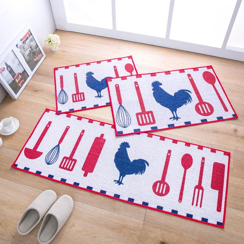 MDCT White Red Blue Cooking Design Kitchen Floor Mats
