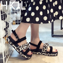 HKJL Fashion Platform sandals summer women 2019 new Korean fashion leopard print flat toe fairy wind buckle A462