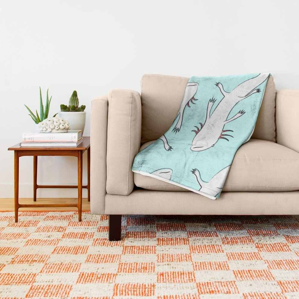 """Axolotls 51"""" x 60"""" Blanket Throw on Sofa Bed Plane Plaids Solid Bedspreads Home Textile"""