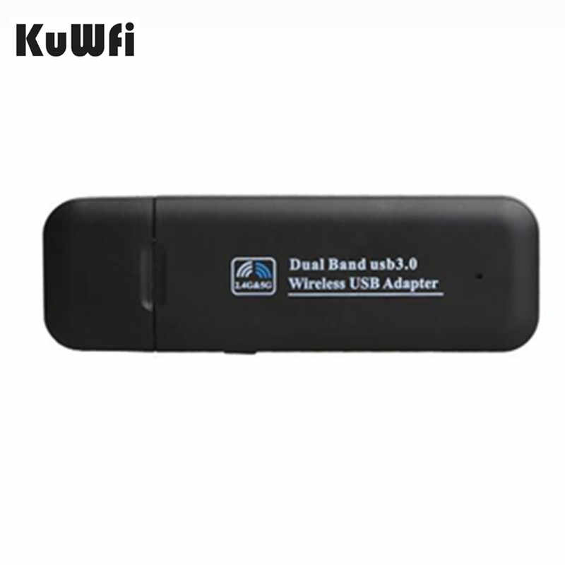 Adaptador inalámbrico USB KuWfi RTL8812AU adaptador de red suave AP USB 3,0 1200Mbps banda Dual WiFi Dongle/receptor para escritorio del ordenador portátil