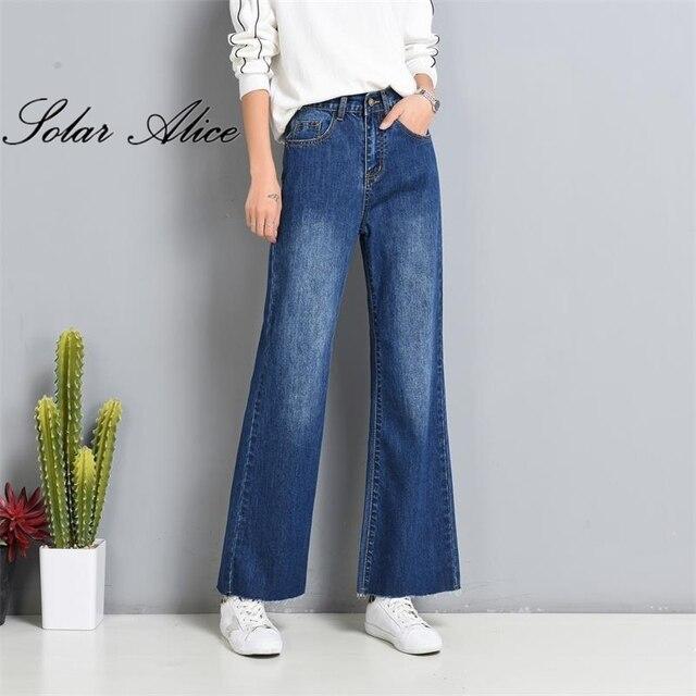c51e92de7f7 Free Shipping 2017 Autumn Women Wide Leg Plus Size Jeans High Waist Big  Straight trousers Boot Cut Flares Pants Large Size 26-40