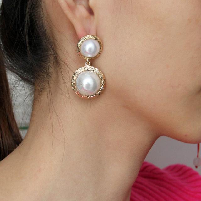 Big Pearl Stud Earrings For Women