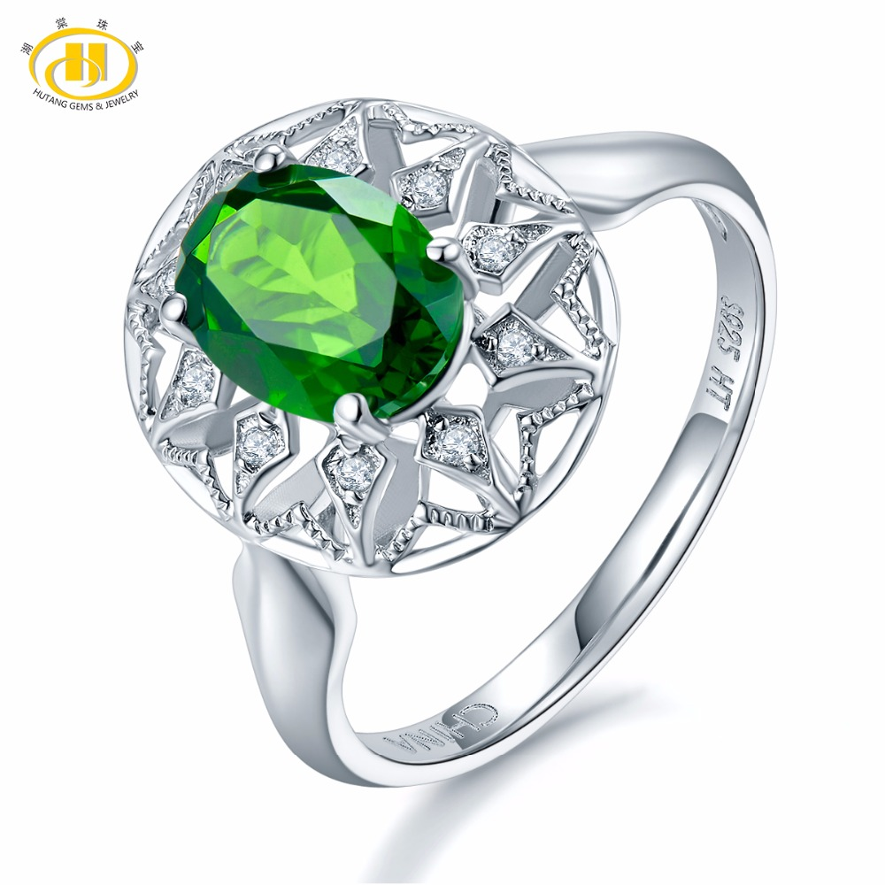 Hutang Natural Gemstone Chrome Diopside Solid 925 Sterling Silver Flower Ring Fine Jewelry Presents Gift For Women NEW hutang natural gemstone chrome diopside 925 sterling silver flower ring for women new fine jewelry presents gift 2018