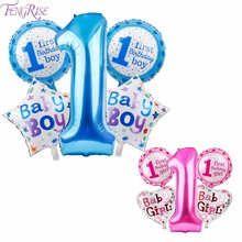 FENGRISE 1st Birthday Balloons Happy Balloon Blue Pink Letter 1 Anniversary Boy Kids I Am One Baby Shower Decoration