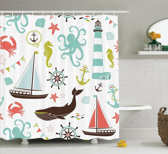 WARM TOUR Fabric Shower Curtain Whale Sharke and Octopus Coral ...