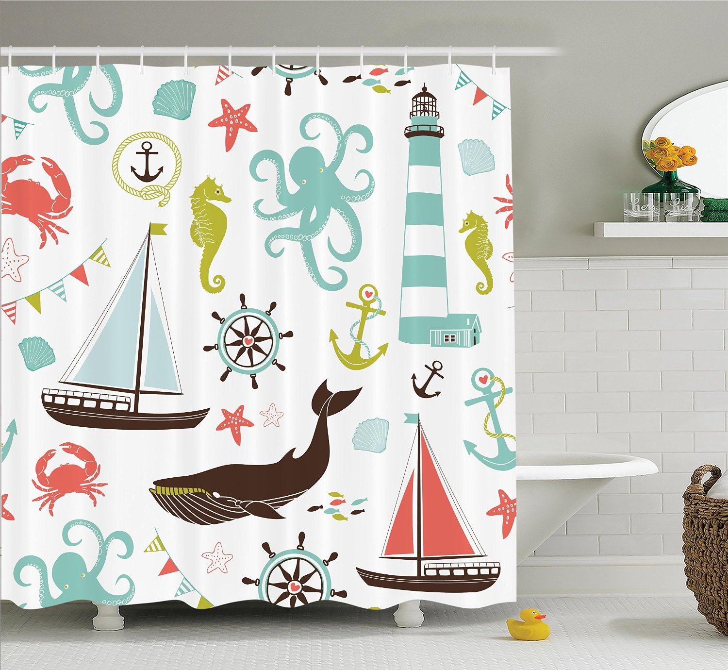 Whale shower curtain - Warm Tour Fabric Shower Curtain Whale Sharke And Octopus Coral Crab Marine Lighthouse Ocean 71