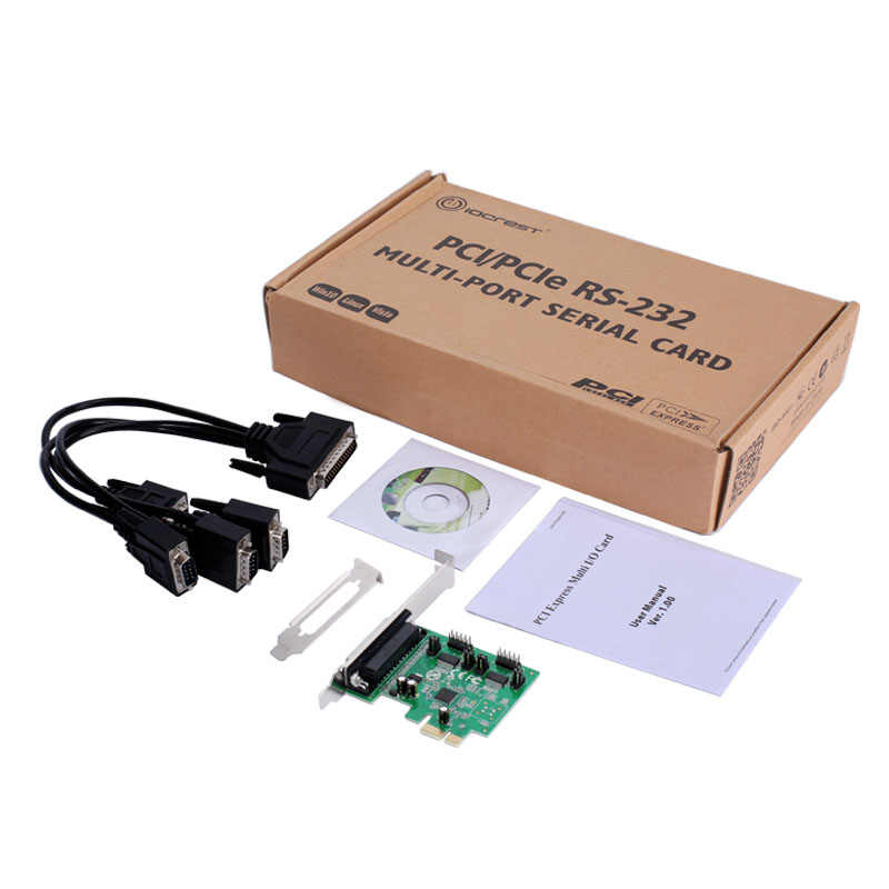 IOCrest PCI-E to 4 Port Serial RS232 DB9 Pin COM Card with fan-out cable AX99100 Chipset