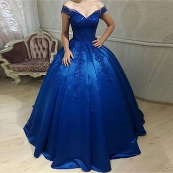 Royal Blue Off Shoulder Evening Dresses Appliques Beaded robe de soiree abiye Satin Corset Backless Evening Dress vestido longo