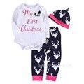 Baby Boy Clothes Christmas Baby Set 3pcs Bodysuit+Pans+Hats Newborn Clothes Cartoon Roupa Infantil Infant Boy Clothes