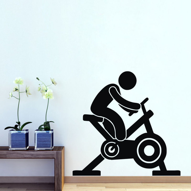Spin Bike Wall Stickers Gym Wall Decorative Art Sticker Wall - Vinyl wall decals removable