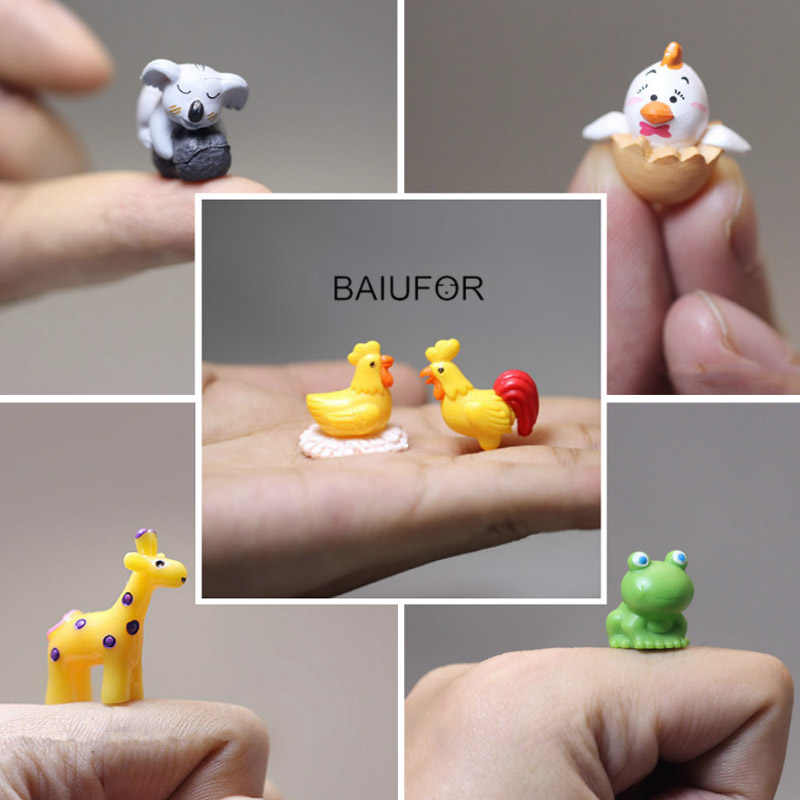 BAIUFOR Animal Miniature Terrarium Accessories Fairy Garden Figurines Doll House Decor Mini Sheep Rabbit Deer Frog Hedgehog Pig
