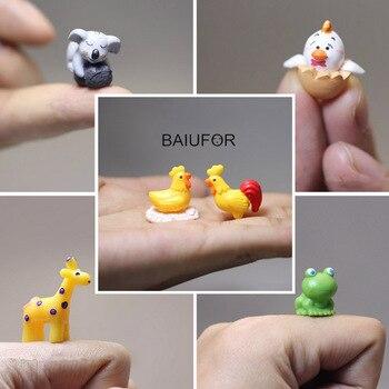BAIUFOR Animal miniaturowe akcesoria do Terrarium bajki figurki ogrodowe domek dla lalek Mini owca królik jeleń żaba jeż świnia