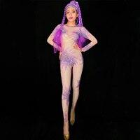 Фиолетовый горный хрусталь комбинезон женский певец танцор сексуальные леггинсы костюм Цельный боди Ночной клуб одежда наряд DJ276