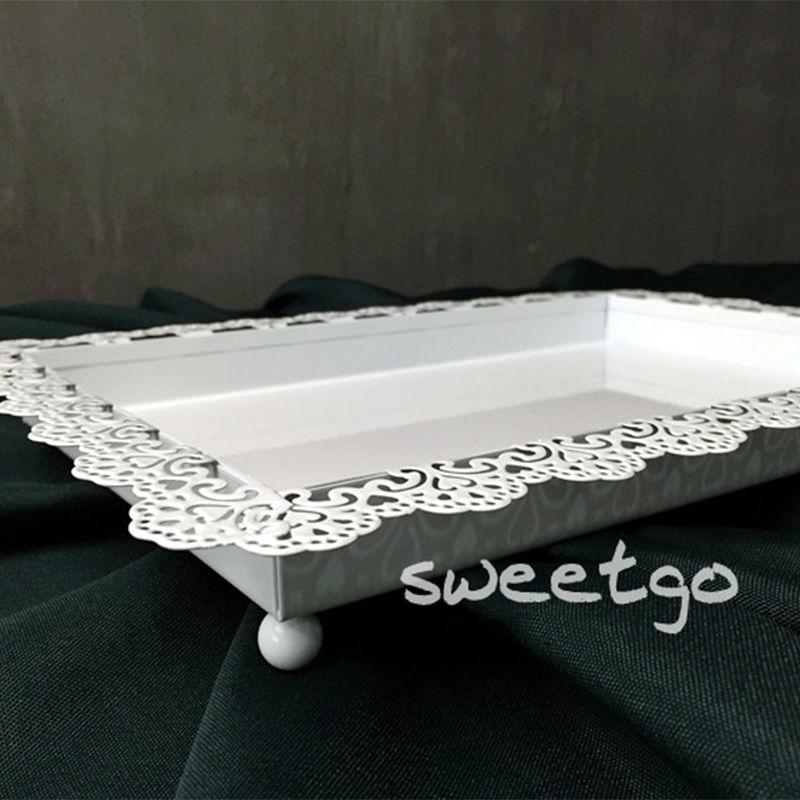 SWEETGO Esküvői dekoráció tálca fém vas fehér téglalap lemez - Konyha, étkező és bár - Fénykép 5