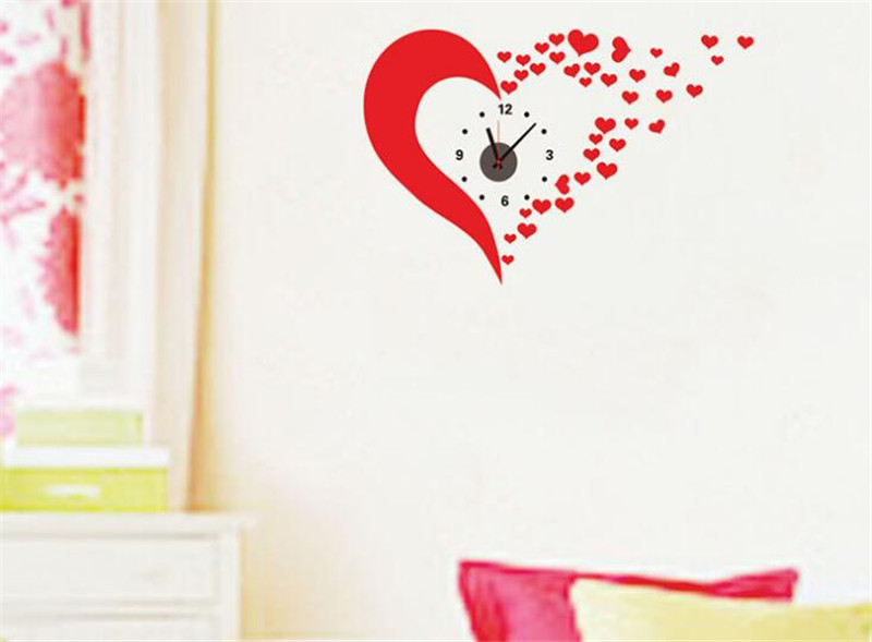 3d home decoration wall clock hearts big wall clock sticker modern style large size wall clocks for bedroom diy wall sticker in wall clocks from home