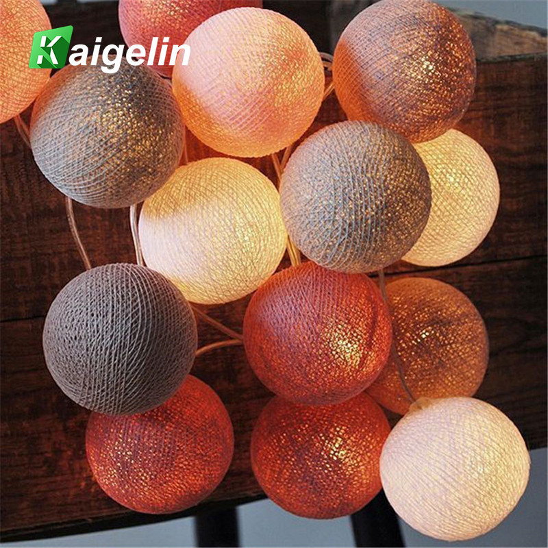 20Pcs/lot Led Cotton Christmas Ball String Lights Warm White EU Plug XMas Decoration Lighting Party Wedding Decoration Light