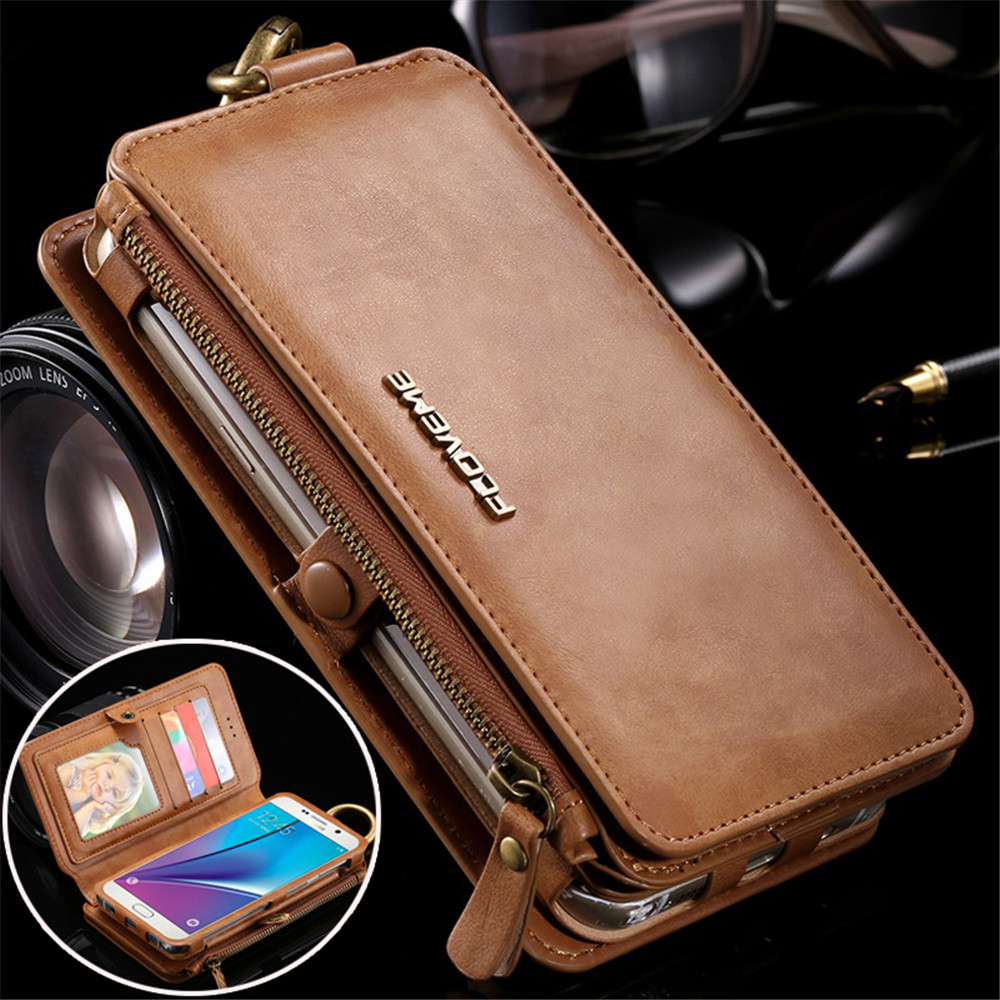 Leather Wallet Case for Samsung Galaxy Note 3 4 5 S7 Edge Vintage Business Multifunction 2