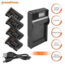 4X LP-E6 LPE6 LP E6 Rechargeable Camera Battery+Charger with LED for Canon 5D Mark II Mark III EOS6D 7D 60D 60Da 70D 80D L15 meike bg e14 multi power battery pack battery holder grip for canon 70d 80d with 2 battery holders for lp e6 aa batteries