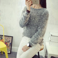 2017 New Fashion Korean Mohair Women S Pullovers Sweaters And Female Casual Joker Long Sleeve Loose